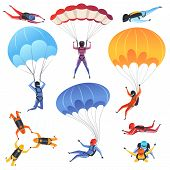 Extreme parachute sport. Adrenaline characters jumping paragliding and skydiving fly aerodynamics vector picture isolated. Skydiver jumping, parachuting sport, paragliding illustration poster