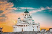 Helsinki, Finland. Lutheran Cathedral On Senate Square With At Summer Sunset Evening With Dramatic Sky. Famous Landmark In Finnish Capital. poster