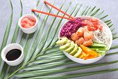 Fresh seafood recipe. Organic food. Fresh salmon poke bowl with crystal noodles, fresh red cabbage, avocado, cherry tomatoes. Food concept poke bowl poster