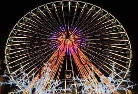 Lille, France - December 22, 2018: A 50-meter High Ferris Wheel (la Grande Roue) At The Christmas Ma