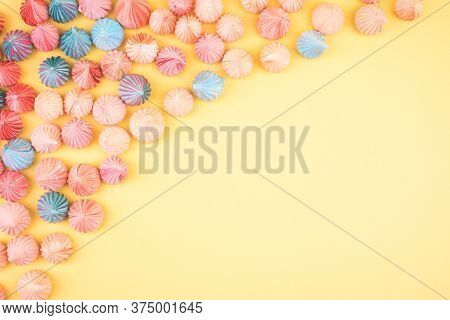 Soft Pink, Blue And Orange Color Of Mini Marshmallows Dessert Top View, Flat Lay Style. Concept For
