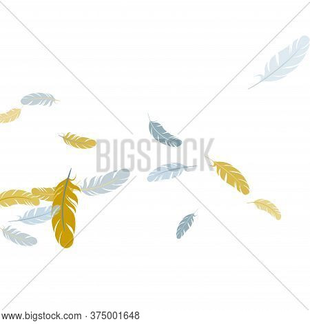 Cute Silver Gold Feathers Vector Background. Plumage Bohemian Fashion Shower Decor. Decoration Confe