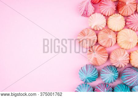 Soft Pink And Blue Color Of Mini Marshmallows Dessert Top View, Flat Lay Style. Concept For Holiday