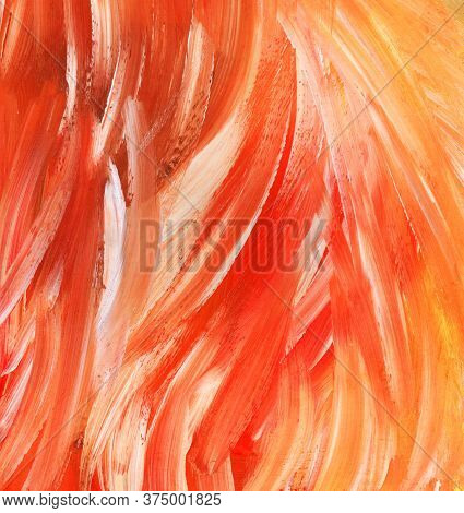 Abstract Watercolor Fiery Background On Textured Paper. Hand Drawn Illusrtration In Bright Orange, R