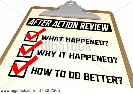 After Action Review Checklist Evaluation Steps Process 3d Illustration