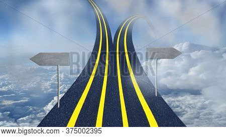 Road Divided Into Two And One Goes Upward To Sky And Another To Ground With Copy Space Conceptual Im