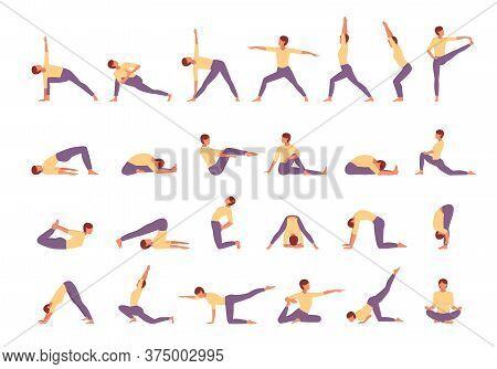 Character Engaged Fitness Yoga Large Set. Woman Conducts Tadasana Exercises Stands Pose Tree Asana T