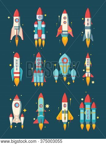 Rockets Space Set. Star Ships Modern Various Shapesfire Escaping Engine Heavy Asteroid Rigs Class St