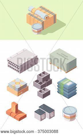 Building Construction Materials Isometric Set. Bobbin Linoleum Bucket Glue Box Tiles Concrete Blocks