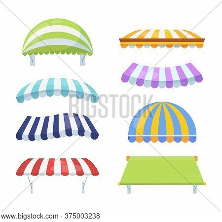 Canopy Colour Striped Set. Stylish Multicolored Awnings Shelter Green From Rain Sun Necessary Blue A
