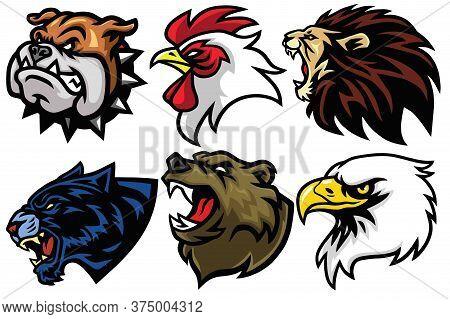 Wild Animals Head Set. Lion, Bear, Eagle, Jaguar, Rooster, Bulldog Vector Esport Mascot Logo Design