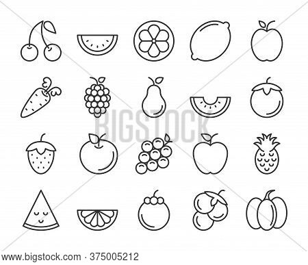 Fruits Icons. Fruits And Vegetables Line Icon Set. Vector Illustration. Editable Stroke.