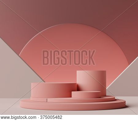 3d Geometric Forms. Cylinder Podium In Coral Pink Color. Fashion Show Stage,pedestal, Shopfront With