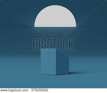 3d Geometric Forms. Cracked Blue Box Podium. Fashion Show Stage,pedestal, Shopfront With Colorful Th