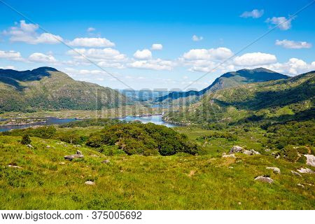 Landscape Of Ladys View, Killarney National Park In Ireland. The Famous Ladies View, Ring Of Kerry,