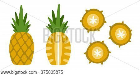 Pack Of Isolated Objects - Delicious Yellow Ananas. Fruit In Flat Style For Design. Bright, Color, M