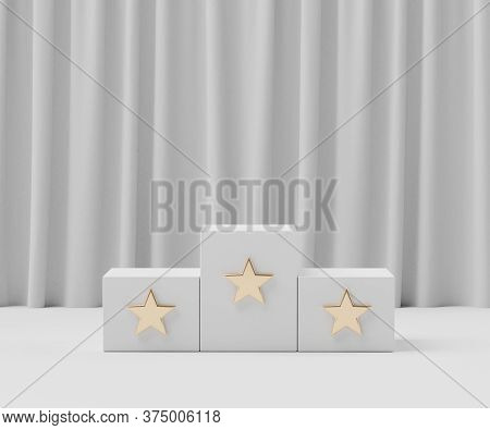 3d Geometric Forms. Podium Ranking With Star. Fashion Show Stage,pedestal, Shopfront With White Clea
