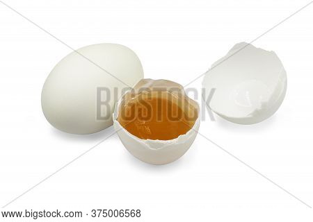 Organic Raw Salted Duck Egg On White Isolated Background With Clipping Path. Salted Duck Egg Is Popu