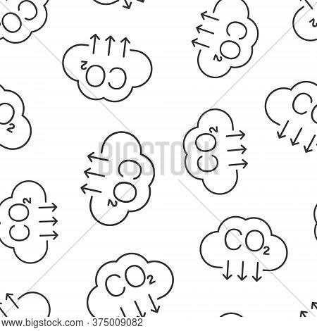 Co2 Icon In Flat Style. Emission Vector Illustration On White Isolated Background. Gas Reduction Sea
