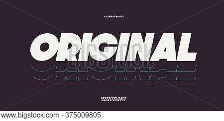 Vector Original Bold Font White Color Trendy Typography For T Shirt, Game, Book, Racing, Infographic
