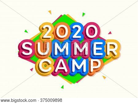 2020 Kids Summer Camp Banner Cartoon Style For Children Holidays, Summer Holiday Party, Kids Camping