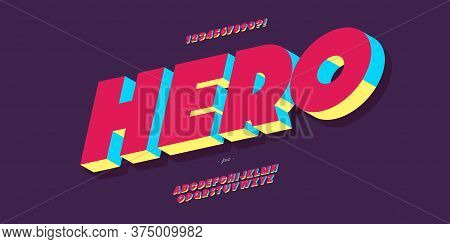 Vector Hero Font 3d Bold Colorful Style Modern Typography For Poster, Event Decoration, Motion, Vide