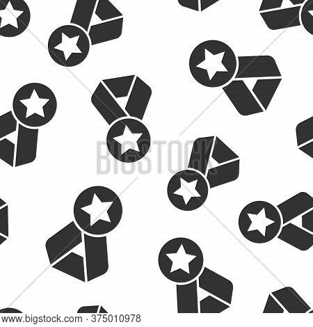 Medal Icon In Flat Style. Prize Sign Vector Illustration On White Isolated Background. Trophy Award