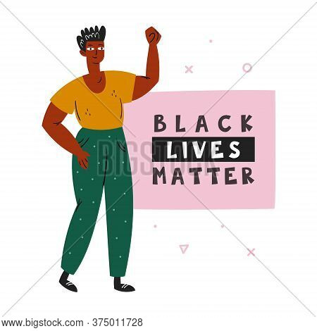 Black Lives Matter. Afro American Man With Hand Up. Dark Skin Color. No Racism. Active Social Positi