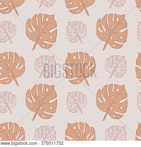 Brown And Pink Leaves. Simple Seamless Pattern For Wrapping Paper, Covers, Fabric, Pillows, Bedding,