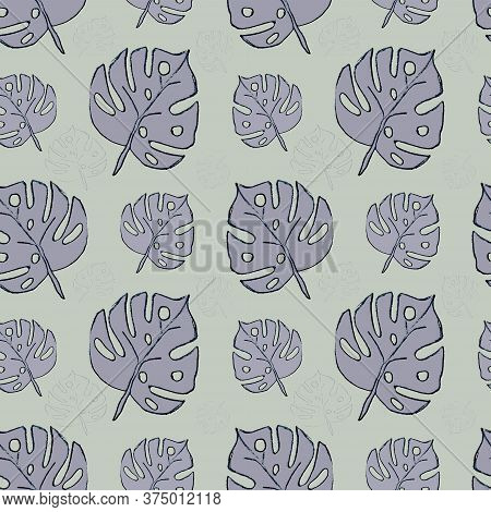 Purple And Blue Leaves. Simple Seamless Pattern For Wrapping Paper, Covers, Fabric, Pillows, Bedding