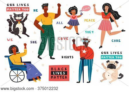 Black Lives Matter. Afro American People With Hand Up. Man, Woman, Child, Invalid. Dark Skin Color.