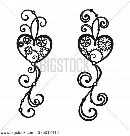 Black Heart With Gears, Cogwheels And Swirls On A White Background. Steampunk. Vector Decorative Ele