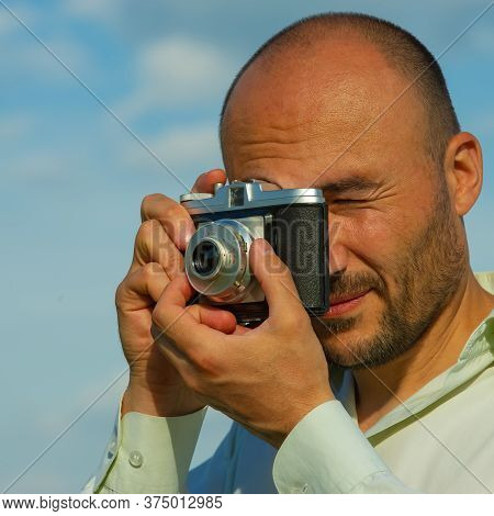 Tourist Takes Pictures With A Vintage Film Camera, Close-up. Web Banner.