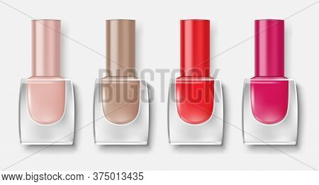 Set Of Nail Polish Bottles. Colorful Varnish For Nail Insulated. Realistic Lacquer Glass Containers