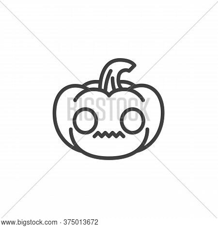 Flushed Pumpkin Face Emoji Line Icon. Linear Style Sign For Mobile Concept And Web Design. Halloween