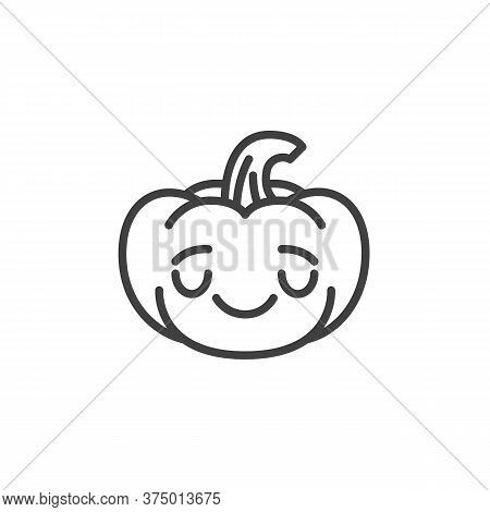 Relieved Pumpkin Face Emoji Line Icon. Linear Style Sign For Mobile Concept And Web Design. Hallowee