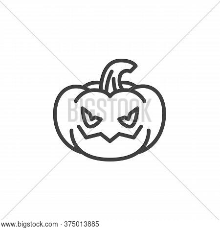 Angry Pumpkin Face Emoji Line Icon. Linear Style Sign For Mobile Concept And Web Design. Crazy Pumpk