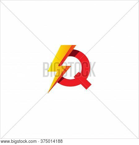 Q Letter Initial Logo Design Template. Alphabet With Thunder Shape Logo Concept. Hot Red And Yellow