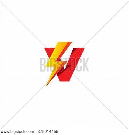 V Letter Initial Logo Design Template Isolated On White Background. Alphabet With Thunder Shape Logo