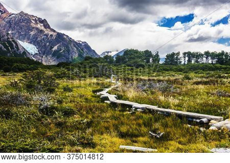 Wooden path in the middle of Antarctic beech forest leading to Laguna Torre glacial lagoon under the Cerro Torre mountain in Los Glaciares National Park in Argentina