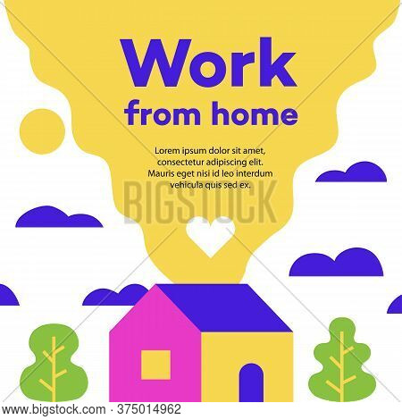Work From Home. Stay Home Concept Illustration For Epidemic Coronavirus Covid -19. Stay Home Club, S