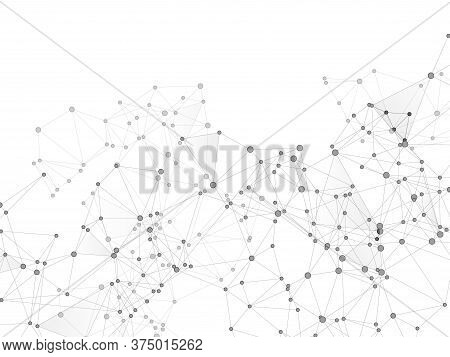 Block Chain Global Network Technology Concept. Network Nodes Greyscale Plexus Background. Global Dat