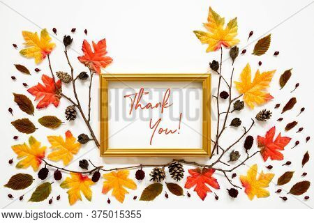 Colorful Autumn Leaf Decoration, Golden Frame, Text Thank You