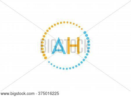 Initial Letter Ah Logo With Circle Element. Design Vector Illustration Template. Ah Letter Logo