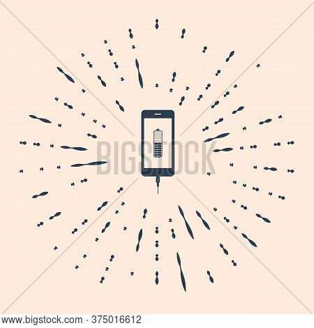 Black Smartphone Battery Charge Icon Isolated On Beige Background. Phone With A Low Battery Charge A