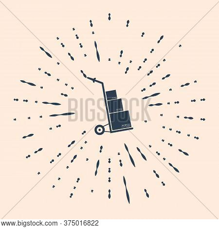 Black Hand Truck And Boxes Icon Isolated On Beige Background. Dolly Symbol. Abstract Circle Random D