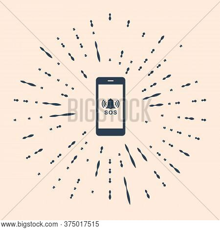 Black Sos Call Icon Isolated On Beige Background. 911, Emergency, Help, Warning, Alarm. Abstract Cir