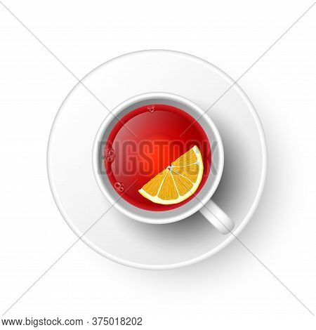 Realistic 3d Cup Of Hot Aromatic Healthy Herbal Rooibos Or Hibiscus Red Tea With Lemon. A Teacup Top