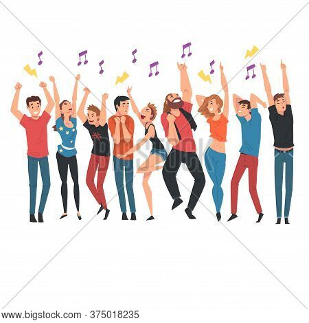 Crowd Of Young People Dancing And Singing Along With Performers At Concert Vector Illustration