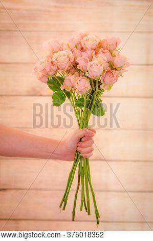 Close Up Of A Bouquet Of Sahara Sensation Roses Variety, Studio Shot, Pink Flowers